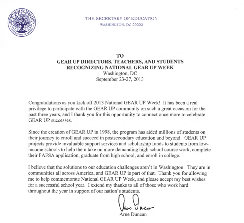 National gear up week page 2 california gear up blog arne duncan letter pic expocarfo