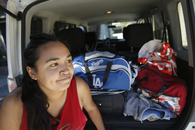 LooLoo Amante, 21, a 2016 SJSU graduate, is currently homeless and living out of her car in San Jose, Calif., on Friday, July 8, 2016. Amante experienced homelessness while attending San Jose State and she is again homeless while she waits to attend graduate school at USC in late August. (Jim Gensheimer/Bay Area News Group)